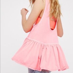 Free people hot pink swing open back tank